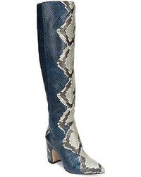 Sam Edelman - Hai Serpent Snake Print Leather Tall Block Heel Boots - Lyst