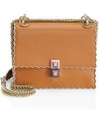 396a5ddea14f Fendi - Women s Mini Kan Scalloped Leather Bag - Caramello - Lyst