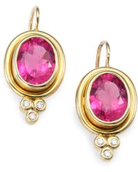 Temple St. Clair | Classic Color Pink Tourmaline, Diamond & 18k Yellow Gold Oval Drop Earrings | Lyst