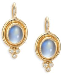 Temple St. Clair - Royal Blue Moonstone, Diamond & 18k Yellow Gold Drop Earrings - Lyst