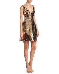 Monique Lhuillier - Structured Sequin Cocktail Dress - Lyst