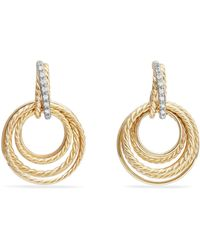 David Yurman - Crossover® Drop Earrings With Diamonds In 18k Yellow Gold - Lyst