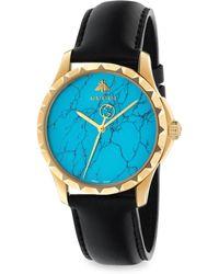 Gucci - Le Marché Des Merveilles Synthetic Turquoise, Goldtone Pvd & Leather Strap Watch - Lyst