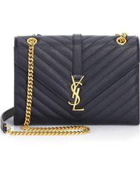 774704a614 Saint Laurent - Medium Monogram Leather Envelope Chain Shoulder Bag - Lyst