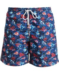 2ccc64eead918 Saks Fifth Avenue - Men's Collection Under The Sea Swim Trunks - Navy - Lyst