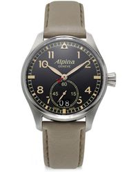 Alpina - Sapphire Crystal Leather Strap Watch - Lyst