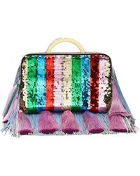 the VOLON - Sequined Clutch - Lyst