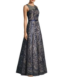Basix Black Label | Ill Top Leaf Embroidered Detail Floor-length Gown | Lyst