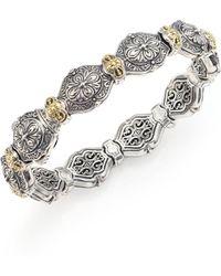 Konstantino - Thalassa 18k Yellow Gold & Sterling Silver Etched Link Bangle Bracelet - Lyst