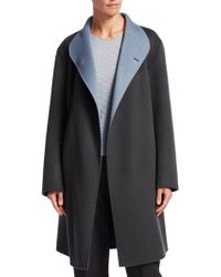 Emporio Armani - Wool Wrap Coat - Lyst