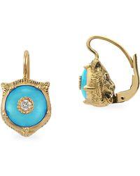 Gucci - Feline Head Turquoise & Diamond Drop Earrings - Lyst