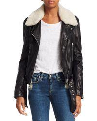 Rag & Bone - Mackenzie Shearling Collar Leather Moto Jacket - Lyst