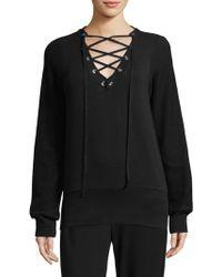 L'Agence - Josilyn Lace-up Sweatshirt - Lyst