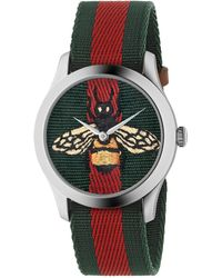 76ed0bee8ea Gucci - Bee Stainless Steel And Striped Nylon Strap Watch - Red Green - Lyst