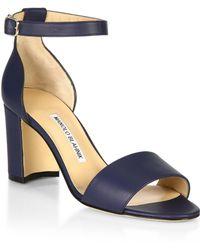 7b718365d9d2 Lyst - Manolo Blahnik Lauratomod Block-Heel Ankle-Strap Sandal in Black