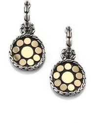 John Hardy - Dot 18k Yellow Gold & Sterling Silver Drop Earrings - Lyst