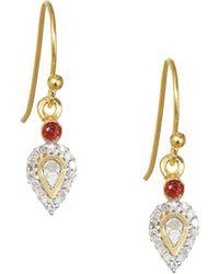 Shana Gulati - Irving Diamond, 18k Goldplated & Garnet Drop Earrings - Lyst