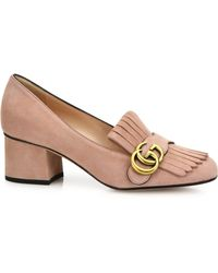 7e966ef2ff1 Lyst - Gucci Marmont Fringed Suede Pumps in Red