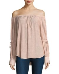 AG Jeans - Tallulah Tie Sleeve Off-the-shoulder Top - Lyst