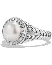 David Yurman - Petite Pearl Ring With Diamonds - Lyst