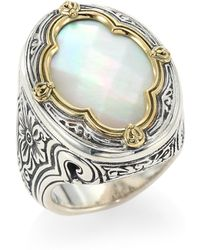 Konstantino - Faceted Mother Of Pearl, Sterling Silver & 18k Yellow Gold Ring - Lyst
