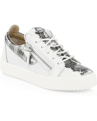 Giuseppe Zanotti - Snake-embossed Leather Low-top Sneakers - Lyst