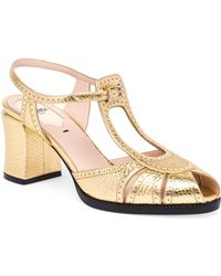 Fendi - Chameleon Metallic Leather Block Heel Sandals - Lyst