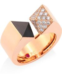 Roberto Coin - Prive Pyramid Pave Diamond, Black Jade & 18k Rose Gold Ring - Lyst