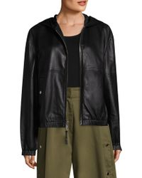Public School - Kris Hooded Leather Jacket - Lyst