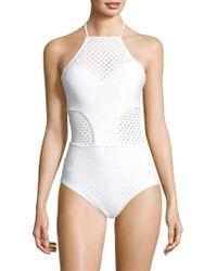 Shoshanna - One-piece Eyelet Swimsuit - Lyst