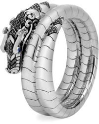 John Hardy - Legends Naga Black & Blue Sapphire Double Coil Bracelet - Lyst