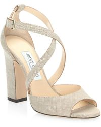 Jimmy Choo | Canvas Leather Sandals | Lyst