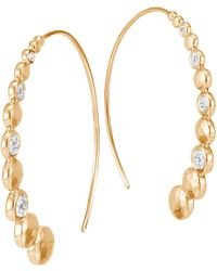 John Hardy - Dot 18k Hammered Gold & Diamond Hoop Earrings - Lyst