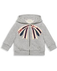 f4f93e4d2 Lyst - Gucci Grey Bow Neck Logo Zip Hoodie in Gray