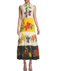 Carolina K - Natalie Floral Cotton Silk Dress - Lyst