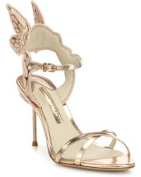 Sophia Webster - Chiara Mid-heel Wing Embroidered Metallic Leather Sandals - Lyst