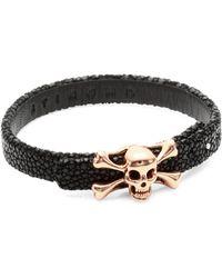 Stinghd - Skull And Crossbones Leather Bracelet - Lyst