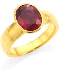 Gurhan - Rainbow One Of A Kind 24k Yellow Gold & Rhodalite Ring - Lyst