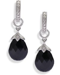 Jude Frances - Lisse Onyx, Diamond & 18k White Gold Pear Briolette Earring Charms - Lyst