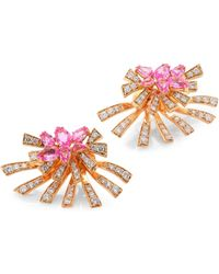 Hueb - Mirage Diamond & Pink Sapphire Stud & Ear Jacket Set - Lyst