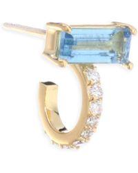 Paige Novick - Powerful Pretty Things Diamond & Aquamarine Single Huggie Earring - Lyst
