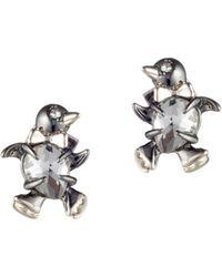 Alexis Bittar - Baby Penguin Silvertone & 10k Yellow Gold Stud Earrings - Lyst