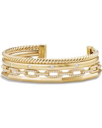 David Yurman - Stax Medium Cuff Bracelet With Diamonds In 18k Gold - Lyst