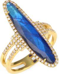 Meira T - Diamonds, Blue Labradorite & 14k Yellow Gold Ring - Lyst