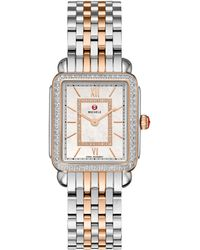 Michele Watches - Deco Ii Diamond, Mother-of-pearl, 18k Rose Gold & Stainless Steel Bracelet Watch - Lyst