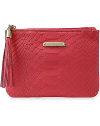 Gigi New York - Python-embossed Leather Zip Pouch - Lyst
