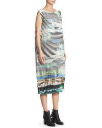 Issey Miyake - Sleeveless Printed Billowy Dress - Lyst