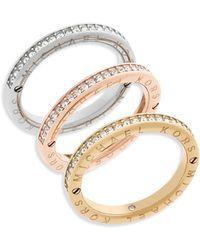 Michael Kors - Haute Hardware Tri-tone Logo Stacked Ring Set - Lyst