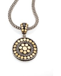 John Hardy - Dot 18k Yellow Gold & Steling Silver Small Round Pendant - Lyst