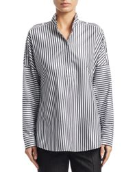 Akris Punto - Long Sleeve Striped Cold Shoulder Blouse - Lyst